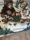 Boyds Bears Christmas Couple w/Basket of Holly Tapestry Afghan Throw