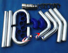 3 INCH 76mm UNIVERSAL ALUMINUM INTERCOOLER TURBO PIPE PIPING KIT BLUE HOSE