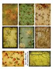 8 Vintage Floral Shades of Green Background Hang Tags Scrapbooking 57