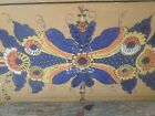 Hand Painted Folk Art Box Canted Sides  Nice Prim Colors Dark Green Interior
