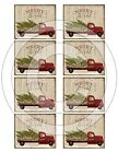 Primitive Pantry Candle Labels 2.5 x 3 Merry and Bright Christmas Red Truck Tree