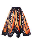 Plus Size Butterfly Printing Swing Skirt Retro Swing A line Dress Skirt Brown