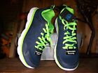 ATHLETIC WORKS MENS RUNNING SHOES SIZE 85 COLOR BLUE GREEN MESH MENS ATHLETIC