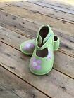 New Girls Toddler Squeaky Shoes Green with Flowers size 9
