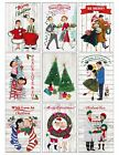 9 Vintage Retro Christmas Couples Hang Tags Scrapbooking Paper Craft 391