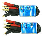 2 PACK 6 FT DUAL 1 4 TS MONO MALE PLUG TO 2 RCA MALE JACK SHIELDED AUDIO CABLE