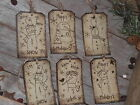 6 Primitive Sepia Snowman Holiday Hang Tags Gift Ties Ornies Dollies