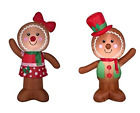 4ft Gemmy Airblown Inflatable Christmas Gingerbread Set of Boy and Girl Decor