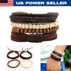 US Fashion Punk Men Women Handmade Leather Bracelet Braided Bangle Wristband Set