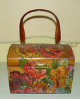 MID-CENTURY WOOD BOX FLORAL DECOUPAGE HANDBAG PURSE LUCITE HANDLE signed IDA