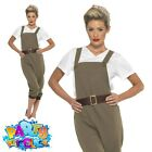 WW2 1940s Land Girl Costume Ladies Munitions Fancy Dress Army Outfit UK 8 18