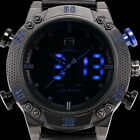 Kitefin Shark Analog Digital Blue LED Date Day Quartz Mens Blue Leather Watch