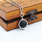 Antique Silver Tone Alloy Hollow RIng w/ 14mm Lava Rock Jewelry Pendaht Necklace