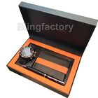 Mens Gino Milano Black Silicone Band Watch With Wallet and Pen Gift Combo Set