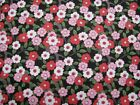 Flannel Fabric Floral Pink Rose and White on Black Background CLOSEOUT