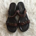 Matisse Italian Leather Slide Sandals w Beads Brown Womens Size 8 39