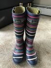 Joules Striped Rain Boots Womens Size 8