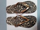 Womens Animal Print Sandal Flip Flop Gold Black Size 8 equal to 8 to 9 US