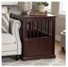 Dog Kennel Wood Bed Crate Pet Cage Wooden Furniture End Table 24 Espresso Puppy