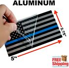 3d Metal Thin Blue Line American Flag Sticker Police Officer Decal Huge 5x2.75