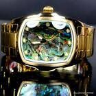 Mens Invicta Grand Lupah Blue Green Abalone Gold Plated Steel Bracelet Watch New