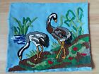 ANTIQUE HANDMADE PUNCH NEEDLEPOINT EMBROIDERY BIRDS 17,5