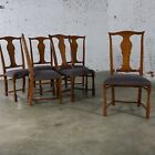 Six Baker Chippendale Style Dining Chairs with Solid Splat and Turned Front Legs