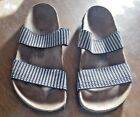 BIRKIS SANDALS BLACK AND WHITE FABRIC SIZE L6 M4 240