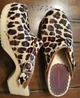 Hanna Andersson 37 5 youth girls clogs pony hair leopard print Anderson shoes