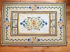 Vintage Hand Hooked CREAM AND YELLOW RUG FLORAL Wool 48 x 71