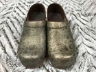Sanita Clogs Nursing Shoes Shiny Leopard Cheetah Print Size 36