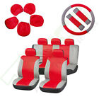 New Red Gray Car Seat Covers w Headrest Steering Wheel Belt Pads For Porsche