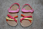Gymboree Toddler Girls Sandals sz 3 4 Pink Orange Yellow Shoes EUC