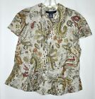 Joneswear Short Sleeve Beige Green Brown Red Linen Blouse Sz 14 Petite EUC