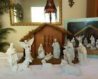 Vintage Porcelain Bisque 11 Pc Nativity Set w Wood Creche White