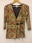Charter Club Top Blouse Womens Medium Faux Wrap Buckle Top Brown Red