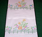 VINTAGE PILLOWCASES, FLORAL CROSS STITCH EMBROIDERY, SNOW WHITE, HEM STITCH 1940