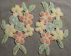 Vintage Embroidered Trim Motifs - Pastel Flowers in Boucle Yarn