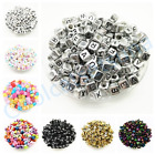 50 Pcs Square Round Alphabet Letter Spacer Beads Acrylic Cube DIYJewelry Making