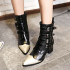 Retro Womens Motorcycel Mid Calf Boots Punk Buckle High Heels Pointy Toe Shoes
