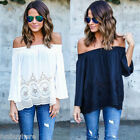 BIG SALE Women SEXY Off Shoulder Tops Long Sleeve Casual Blouse Loose T shirt US