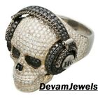 925 Sterling Silver Engagement CZ Customized Evil Face With Head Phones Ring