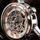Mens Mechanical Skeleton Wrist Watch Steampunk Vintage Rose Gold Analog Leather