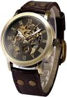 Mens Steampunk Skeleton Case Automatic Mechanical Brown Brown Leather Sport Wris