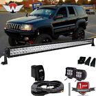 50 288W Led Light Bar+2x18W Fog Light Roof Mounts 99 04 Jeep Grand Cherokee WJ