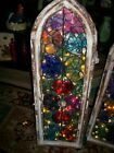 LOT OF 2 OFAK STAIN GLASS WINDOWS THAT LIGHT UP FRAMES FROM CHURCH IN MEXICO