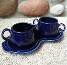 Vintage Fiesta Ware Cream & Sugar Dishes With Serving Tray Cobalt Blue Ceramic