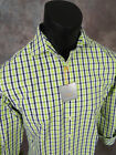 Mens THOMAS DEAN Casual Shirt Lime Green and Blue Plaid Colors Button Front