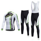 Retro Cycling Long Kit Mens Long Sleeve Cycle Jersey  Padded Bib Pants Tight