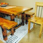 Rustic Farmhouse Dining set with rebar supports and dowels and reclaimed wood